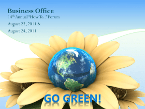 "Business Office 14 Annual ""How To.."" Forum August 23, 2011 &"