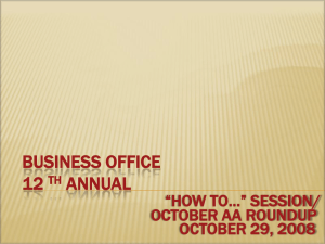 "BUSINESS OFFICE 12 ANNUAL ""HOW TO…"" SESSION/"