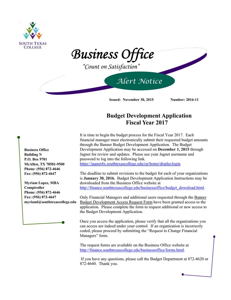 "Business Office ""Count on Satisfaction"" Alert Notice"