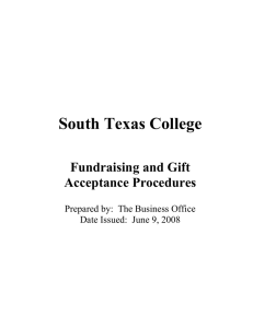 South Texas College  Fundraising and Gift Acceptance Procedures