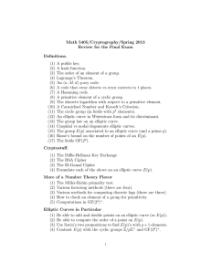 Math 5405/Cryptography/Spring 2013 Review for the Final Exam Definitions. (1) A public key.