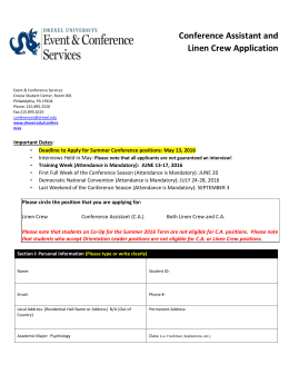 Conference Assistant and Linen Crew Application pplication: Summer 2014