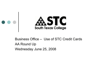 – Use of STC Credit Cards Business Office AA Round Up