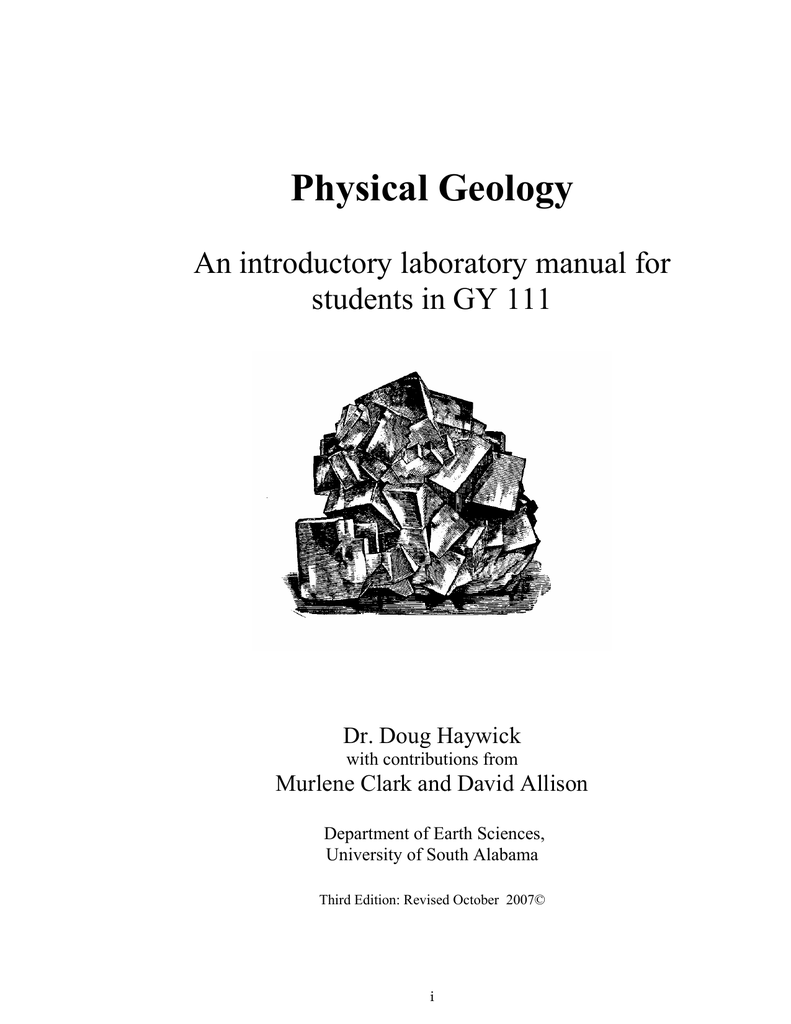 Physical Geology An introductory laboratory manual for students in GY 111