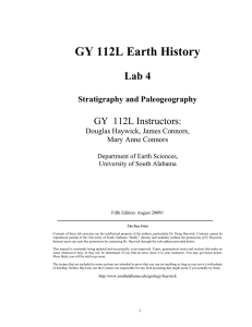 GY 112L Earth History Lab 4 GY  112L Instructors: