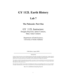 GY 112L Earth History Lab 7 GY  112L Instructors:
