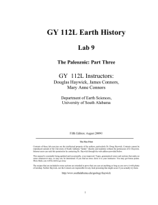 GY 112L Earth History Lab 9 GY  112L Instructors: