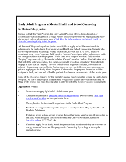 Early Admit Program in Mental Health and School Counseling