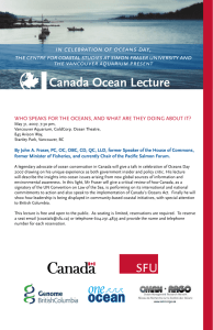 Canada Ocean Lecture in celebration of oceans day, the vancouver aquarium present