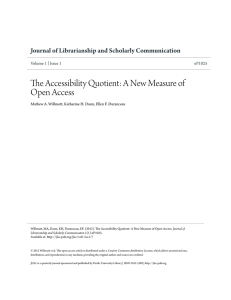 The Accessibility Quotient: A New Measure of Open Access Volume 1