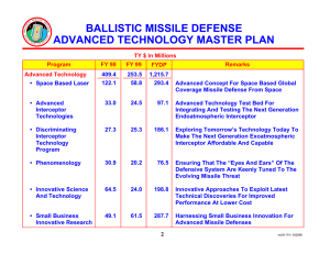 BALLISTIC MISSILE DEFENSE ADVANCED TECHNOLOGY MASTER PLAN