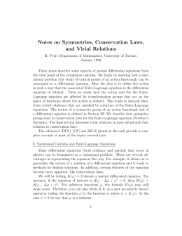 Notes on Symmetries, Conservation Laws, and Virial Relations