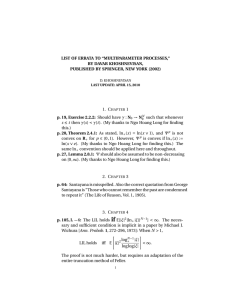 "LIST OF ERRATA TO ""MULTIPARAMETER PROCESSES,"" BY DAVAR KHOSHNEVISAN,"