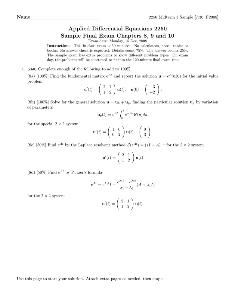 Applied Differential Equations 2250 Name 2250 Midterm 3