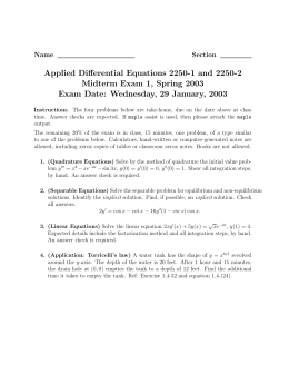 Applied Differential Equations 2250-1 and 2250-2 Midterm Exam 1, Spring 2003