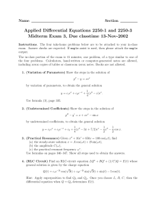 Applied Differential Equations 2250-1 and 2250-3 Name Section