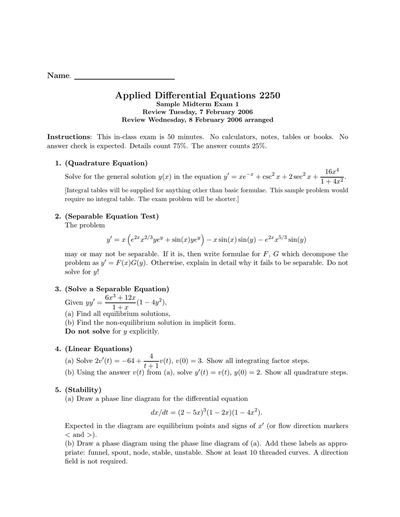 Applied Differential Equations 2250 Name