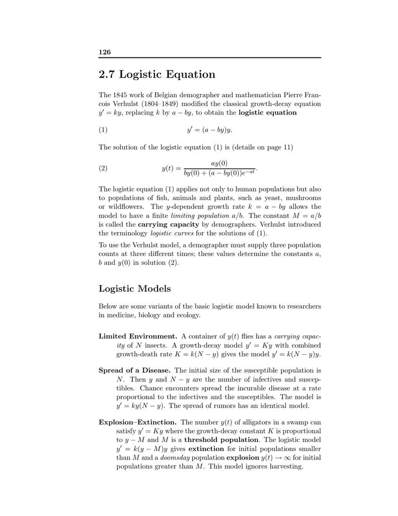 2.7 logistic equation