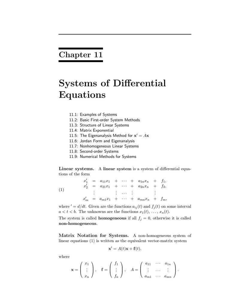 Systems of Differential Equations Chapter 11