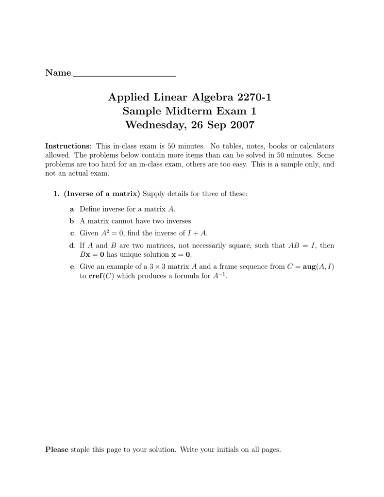 Applied Linear Algebra 2270 1 Sample Midterm Exam 1 Wednesday 26 Sep 2007 Name