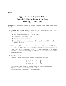Applied Linear Algebra 2270-1 Sample Midterm Exam 1 In-Class Name
