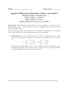 Applied Differential Equations 2250-1 and 2250-2