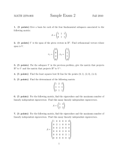 Sample Exam 2 MATH 2270-003 Fall 2010