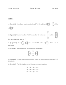Final Exam Part I MATH 2270-003 Fall 2010