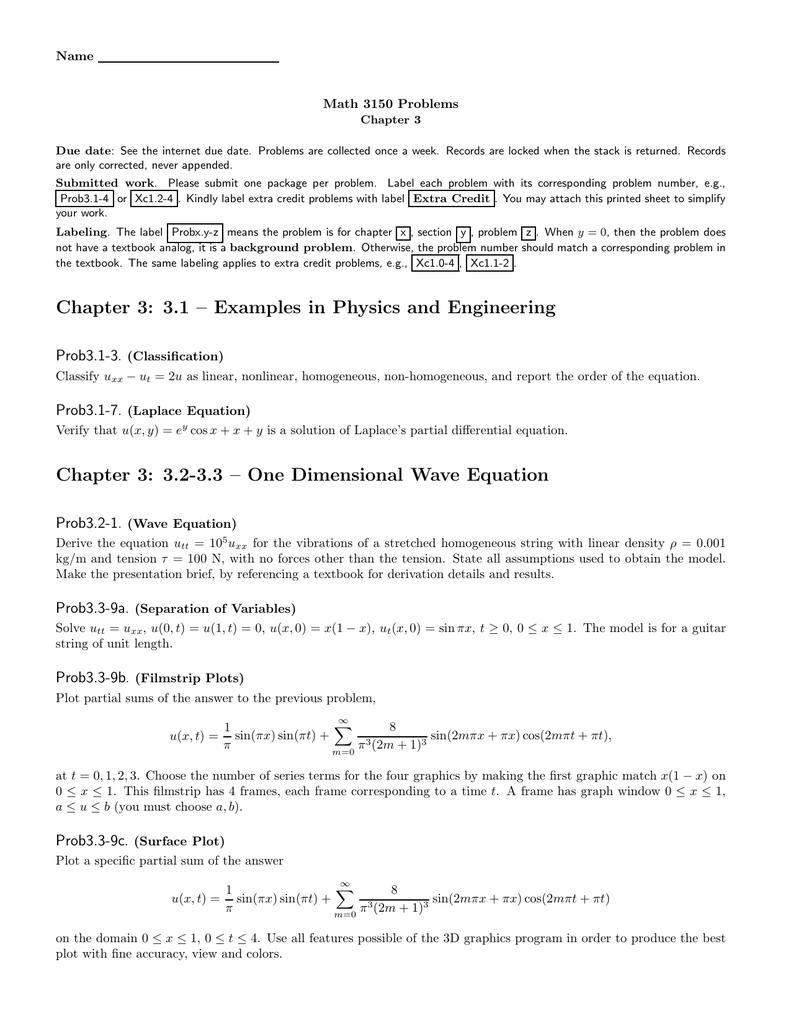 Name Math 3150 Problems