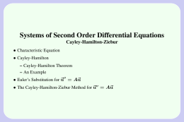 Systems of Second Order Differential Equations Cayley-Hamilton-Ziebur • ~