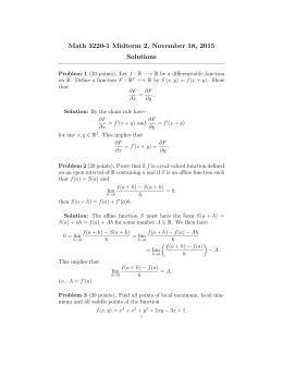 Math 3220-1 Midterm 2, November 18, 2015 Solutions