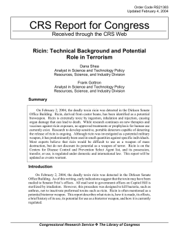 CRS Report for Congress Ricin: Technical Background and Potential Role in Terrorism