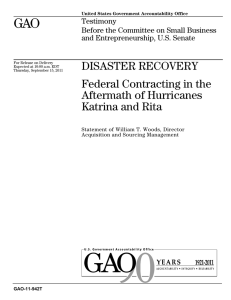 GAO DISASTER RECOVERY Federal Contracting in the Aftermath of Hurricanes