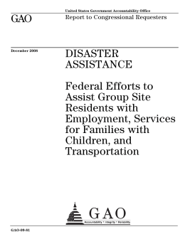 GAO DISASTER ASSISTANCE Federal Efforts to