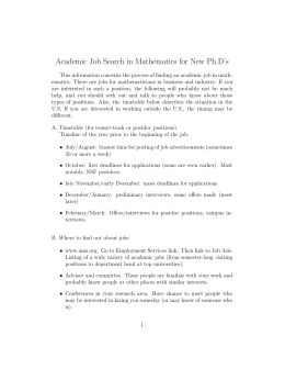 Academic Job Search in Mathematics for New Ph.D's