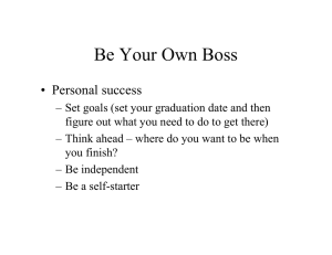 Be Your Own Boss • Personal success