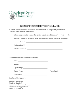 REQUEST FOR CERTIFICATE OF INSURANCE