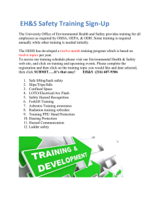 EH&S Safety Training Sign-Up