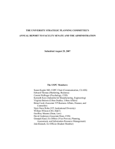 THE UNIVERSITY STRATEGIC PLANNING COMMITTEE'S Submitted August 29, 2007