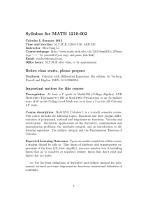 Syllabus for MATH 1210-002