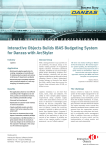 Interactive Objects Builds IBAS Budgeting System for Danzas with ArcStyler Industry Danzas Group