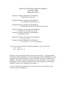 Math1210 Final Exam Review Problems Summer, 2007 Kelly MacArthur