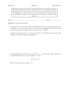 Math 1210 Midterm 3 April 4th, 2014