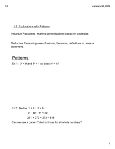 1.2  Explorations with Patterns Inductive Reasoning--making generalizations based on examples.