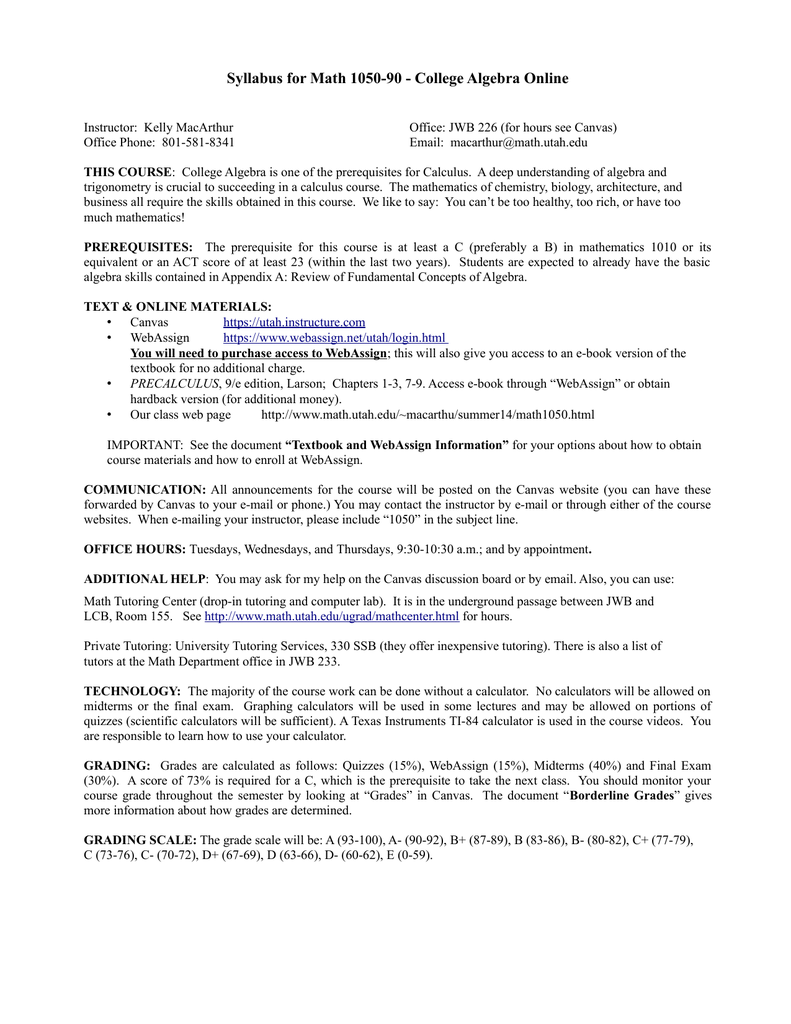 Syllabus for Math 1050-90 - College Algebra Online
