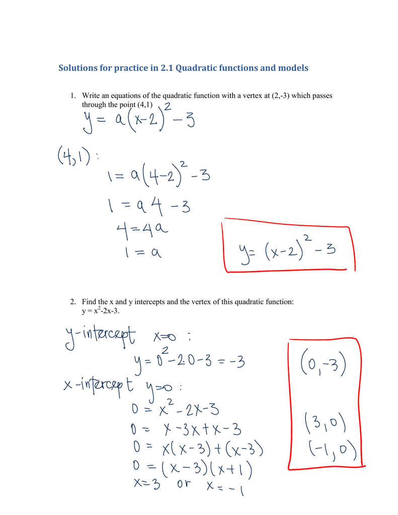 solutions for practice in 21 quadratic functions and models