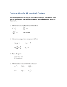 Practice problems for 3.2  Logarithmic Functions