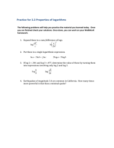 Practice for 3.3 Properties of logarithms