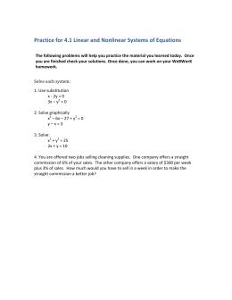 Practice for 4.1 Linear and Nonlinear Systems of Equations