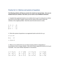Practice for 5.1  Matrices and systems of equations